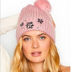 Victoria's Secret Pink Embellished Beanie NWT